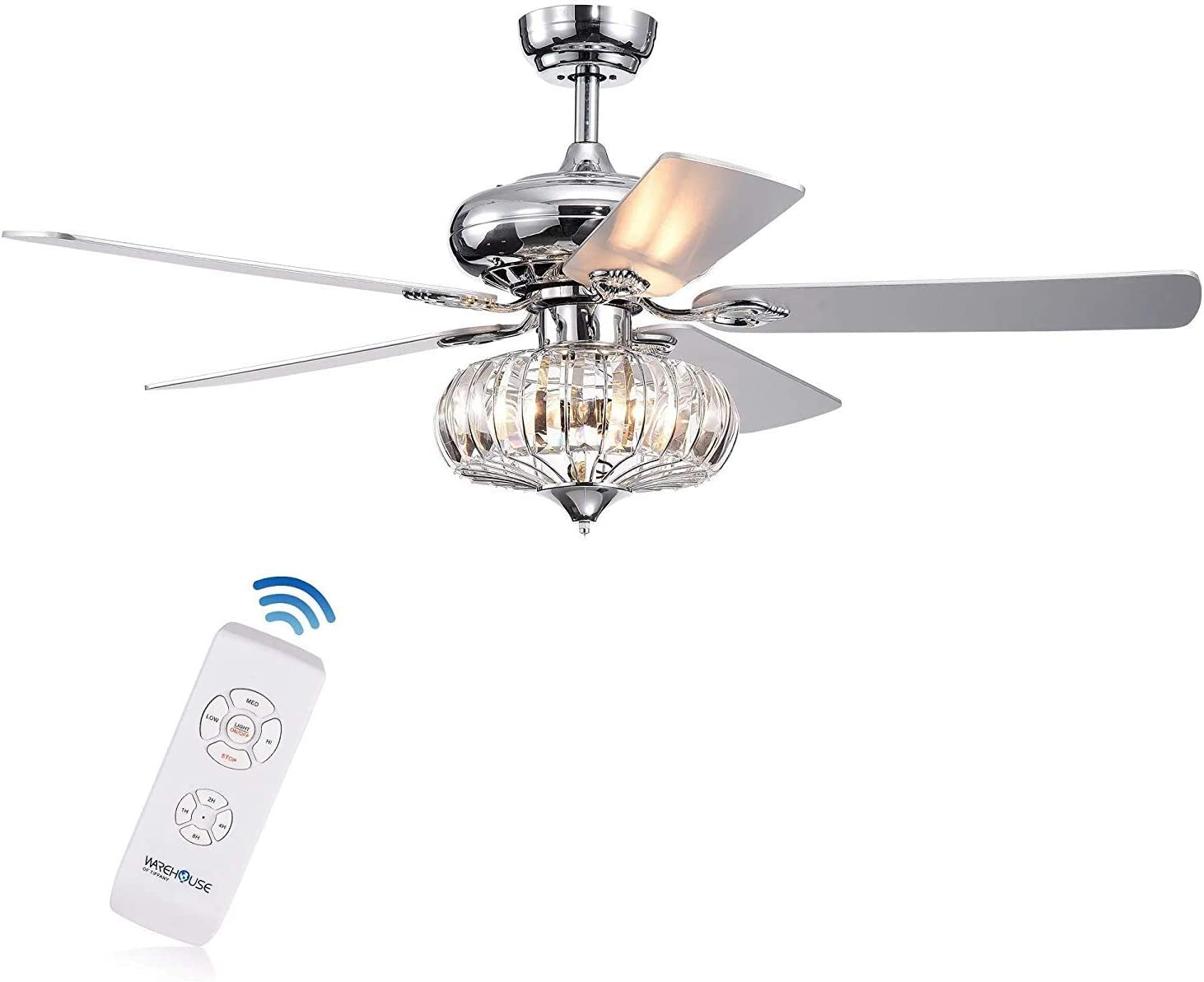 LuxureFan 52Inch Modern Reversible Ceiling Fan Light Bulbs with 5 Wood Blade Crystal Ceiling Fan with Remote Control 3 Speed Decoration for Home Restaurant Living Room of Chrome