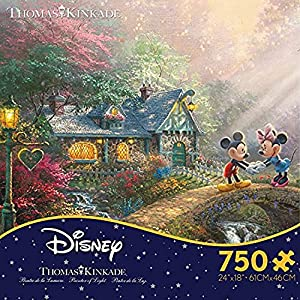 Ceaco Thomas Kinkade The Disney Collection Mickey and Minnie Sweetheart Bridge Jigsaw Puzzle, 750 Pieces