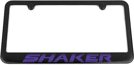 Challenger R//T SHAKER Satin Black License Plate Frame Plum Crazy Purple Engraved