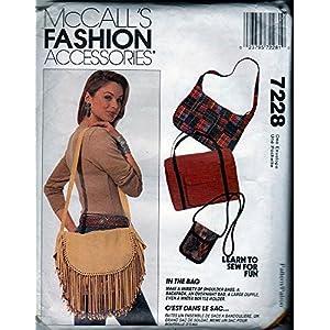 McCall's Sewing Pattern 7228 c1994 Shoulder Bag, Duffle, Backpack, Water Bottle Holder