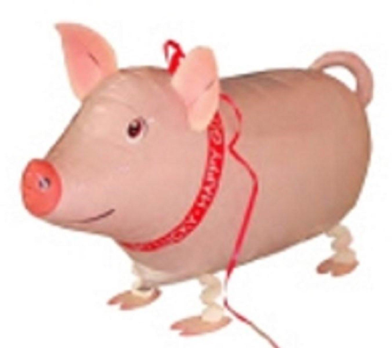 MY BALLOON STORE WALKING ANIMAL PET AIR WALKER HELIUM BALLOON PARTY DECOR FUN (PIG) PINK