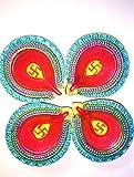Mold Diwali Diya Colorful Earthen Oil Lamps Hand Crafted Diwali Diyas Handpainted Terracotta Diyas (set of 4)