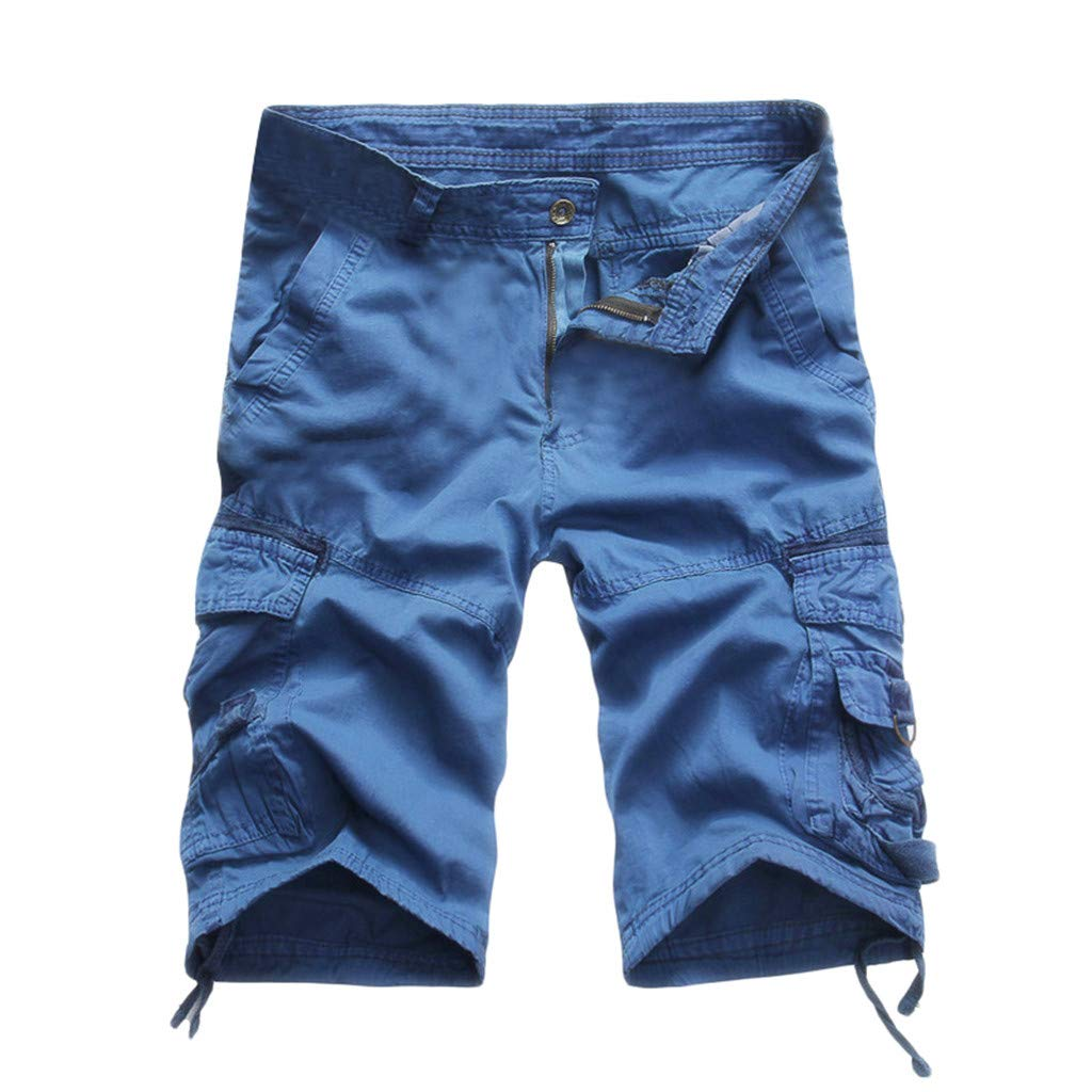 Ratoop Men's Casual Pure Color Outdoors Pocket Beach Work Trouser Cargo Shorts Pant (Blue C, 38) by Ratoop-Pants