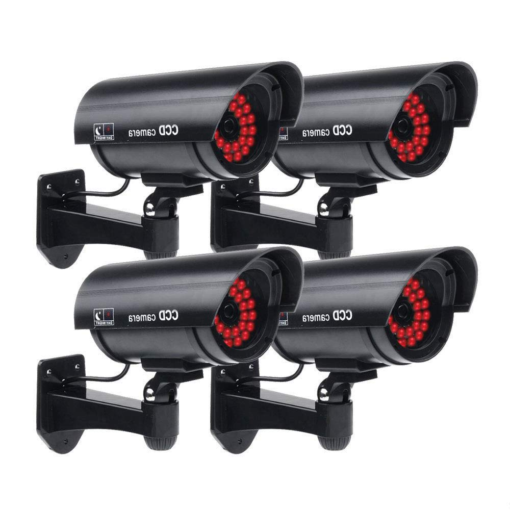 Masione 4 Pack Outdoor Fake/Dummy Security Camera with 30 Illuminating LED Light (Black) CCTV Surveillance by Masione