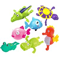 TOYANDONA 7 Pieces Kids Bath Wind-up Toy in Water Cute Sea Animal Wind-up Toys Bathtub Toy for Children Toddlers