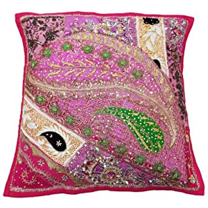 Handcrafted Cotton Cushion Cover Decorative Patchwork Pink Pillow Case Indian Gift 18 x 18 Inches