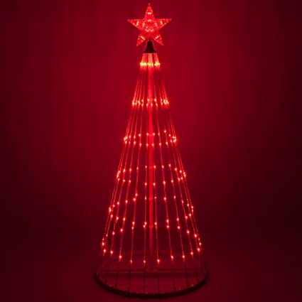 Outdoor Christmas Tree With Lights.Wintergreen Lighting 14 Function Led Light Show Cone Christmas Tree Outdoor Christmas Decorations 12 Red
