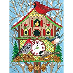 Bits and Pieces - 300 Large Piece Jigsaw Puzzle for Adults - Cuckoo Clock Birdhouse - 300 pc Winter Cardinal and Birds Jigsaw by Artist Lorraine Ryan