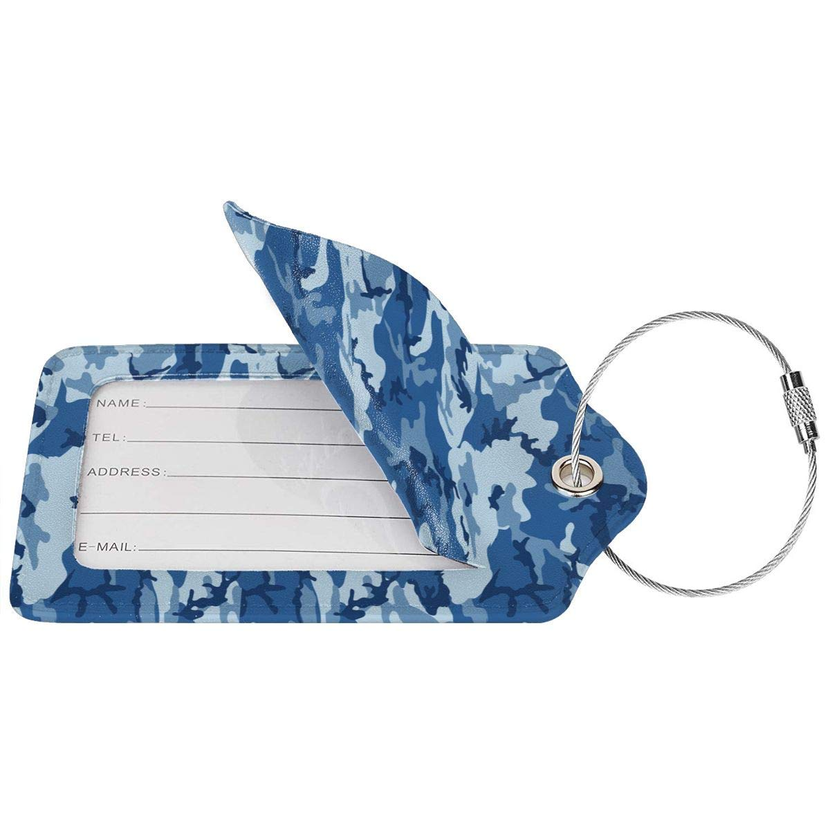 Key Tags for Cruise Ships Honeymoon Gift Leather Luggage Tags Full Privacy Cover and Stainless Steel Loop 1 2 4 Pcs Set Sea Blue Army Camouflage 3D Print 2.7 x 4.6 Blank Tag
