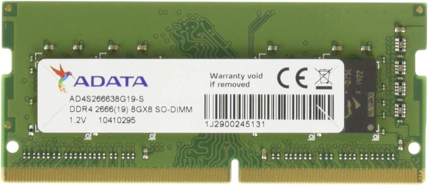 ADATA 8GB DDR4 2666 (PC4-21300) SODIMM 260-Pin Laptop Memory Module Single Rank (AD4S266638G19-S)