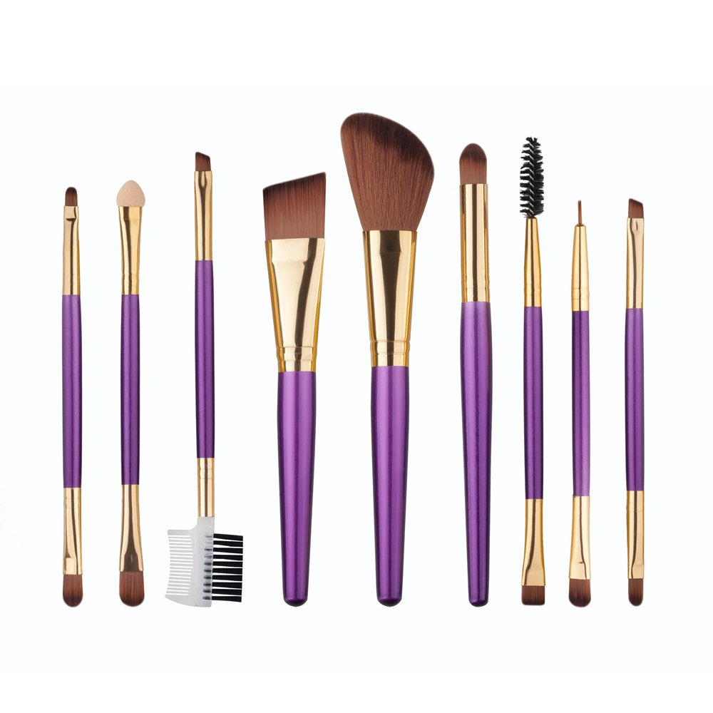 Makeup Brushes 9 Pieces Cosmetics Professional Make Up Brush Set Double Ended Face Powder Foundation Eye Shadow Brush Kit (Purple)