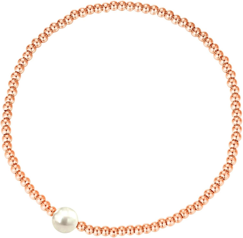 MetJakt Elegante Perlas elásticas de 2,5 mm Chapado en Oro de 18 Quilates Chapado en Oro Pulsera clásica elástica Varios Colgantes