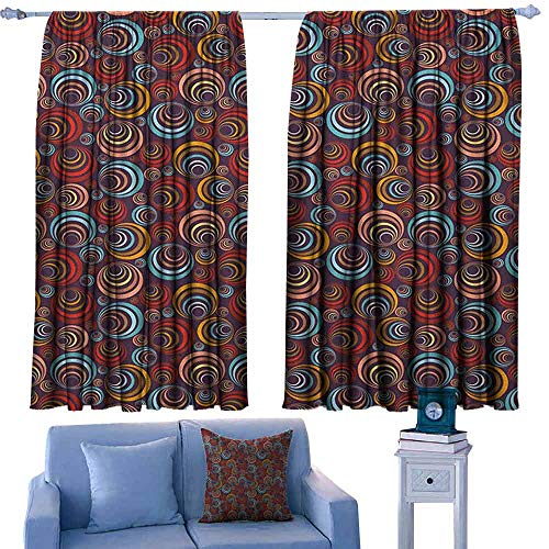 ParadiseDecor Abstract Curtains and Drapes Circular Spiral Oval Geometric Round Figures with Swirls Retro Artful Graphic,Print Customized Curtains,W72 x L84 Inch