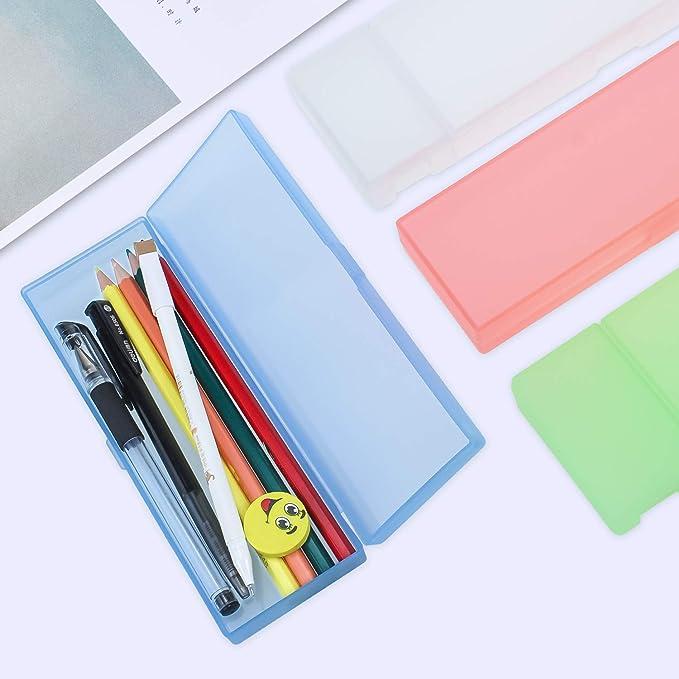 Meetory - Juego de 4 estuches translúcidos para lápices, gomas de borrar y sacapuntas de plástico, caja de almacenamiento para niños, estudiantes, escuela, oficina, suministros, color caramelo 2 tamaños: Amazon.es: Oficina y papelería