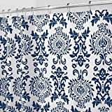 Blue and White Shower Curtain mDesign Long Decorative Damask Print - Easy Care Fabric Shower Curtain with Reinforced Buttonholes, for Bathroom Showers, Stalls and Bathtubs, Machine Washable - 72