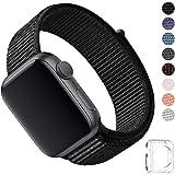 WFEAGL コンパチブル apple watch バンド, コンパチブルiWatch通用ベルト apple watch series 4/3/2/1に対応 ,スポーツループバンド 新しいナイロン アップルウォッチバンド 軽量通気性 (38mm 40mm, ブラック)