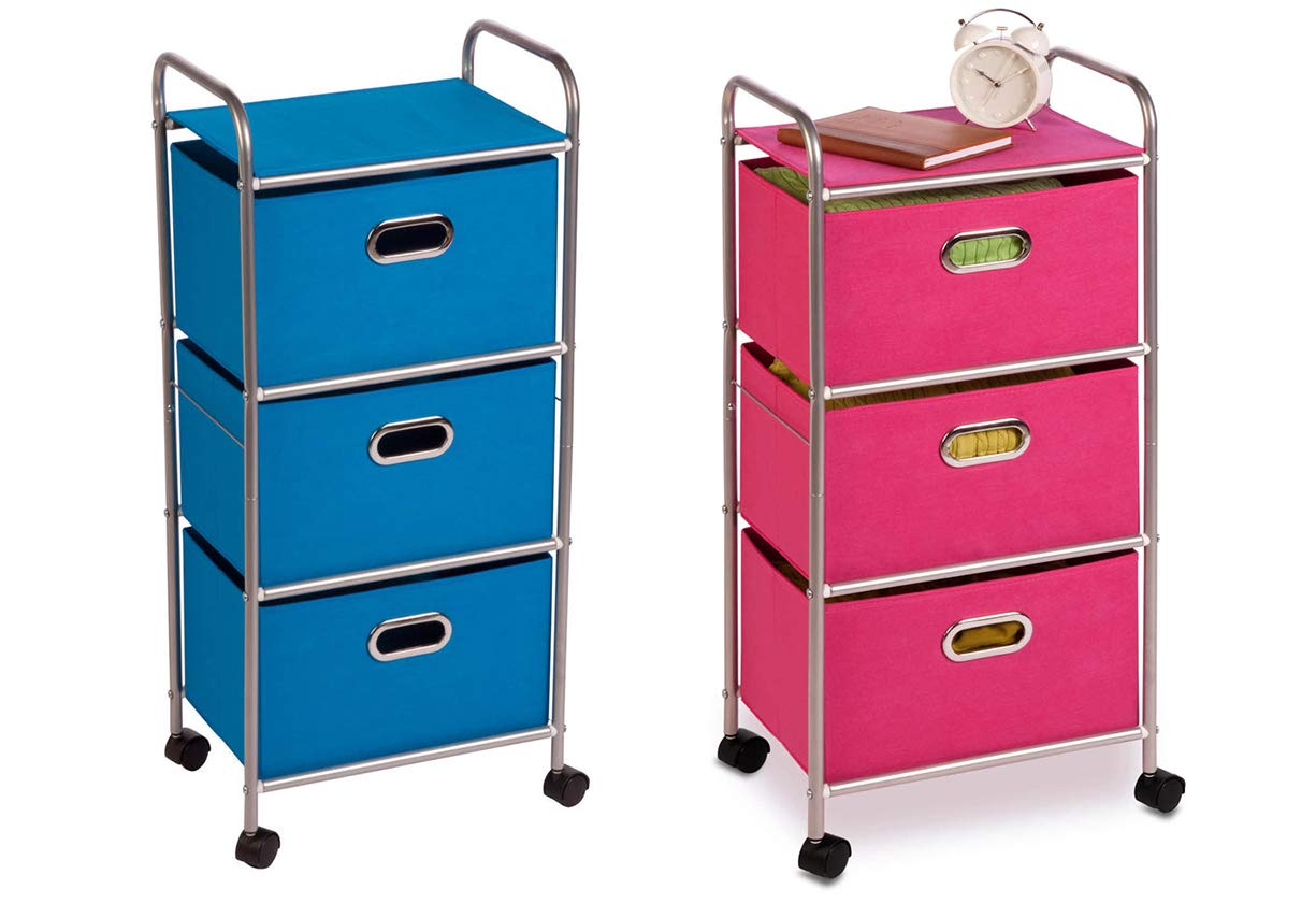 Honey Can Do Blue Plastic Rolling Cart with 3 Fabric Drawers bundle with Honey Can Do Plastic Rolling Cart with 3 Fabric Drawers in Pink