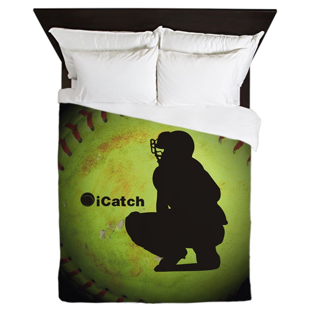 CafePress - Icatch Fastpitch Softball - Queen Duvet Cover, Printed Comforter Cover, Unique Bedding, Microfiber