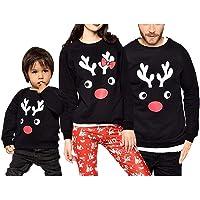 Navidad Sudadera sin Capucha Familiar Disfraz de Padres e Hijos Camiseta de Manga Larga con Patrón de Reno Top…