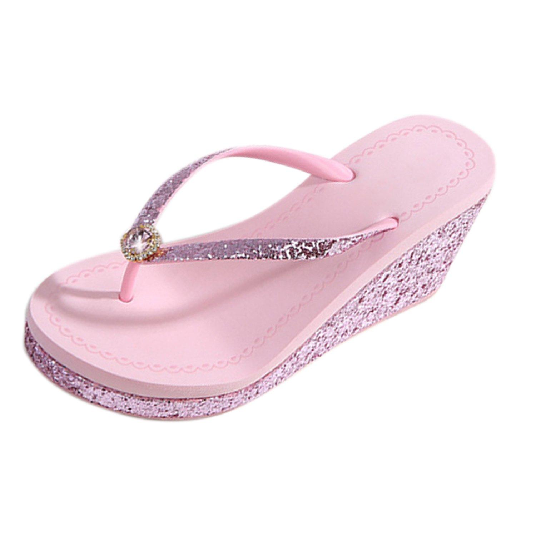 Frestepvie Tongs Compensée Paillettes Mode Rose Femme Mule Fille Mule Eté Toe Sandales Clip Toe Flip Flops Comfortable Chaussure de Plage Rose 8968b2d - boatplans.space