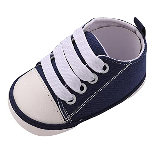 WARMSHOP Unisex Baby Lovely First Walker Shoes Antiskid Soft Sole Lace-up  Daily Casual Canvas 558701e7cd9c