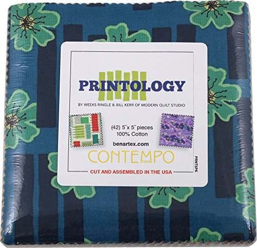 Benartex Printology Precut 5-inch Charm Pack Cotton Fabric Quilting Squares Assortment