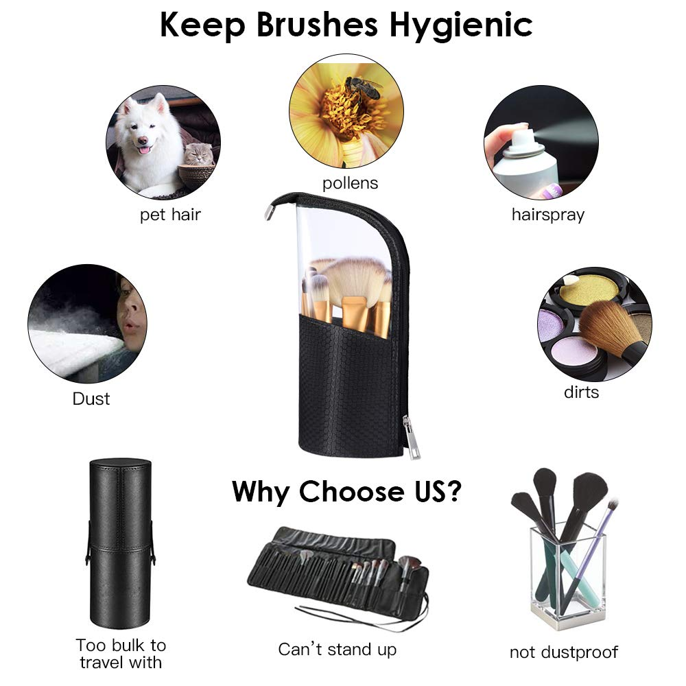Travel Make-up Brush Cup Holder Organizer Bag, Pencil Pen Case for Desk, Clear Plastic Cosmetic Zipper Pouch, Portable Waterproof Dust-Free Stand-Up Small Toiletry Stationery Bag with Divider, Black by ROYBENS (Image #2)