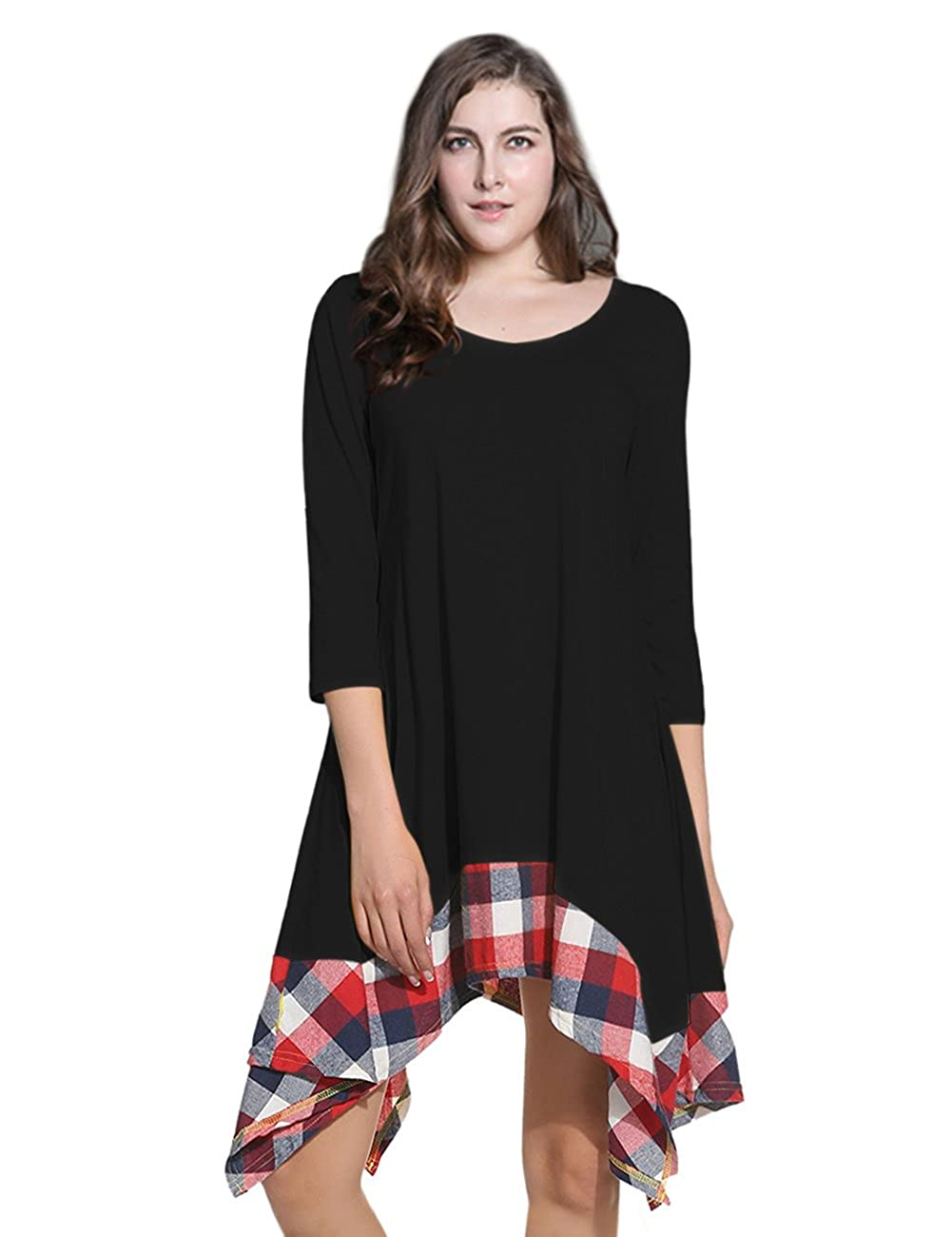 AMZ PLUS Women Irregular Hem Long Sleeve Loose Shirt Dress Top X2-Q3U1-P2F8