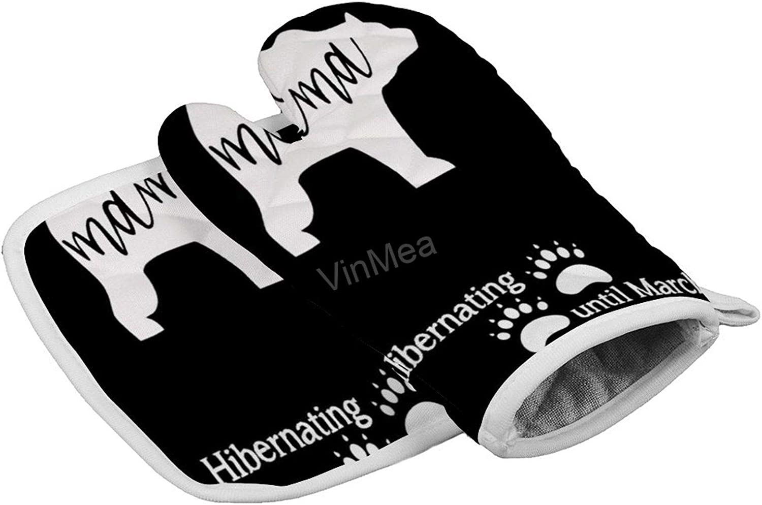 VinMea Oven Mitt and Pot Holder Set Pregnancy Announcemen Mama Bear Due Date in March Heat Resistant Oven Mitts Non Slip Pot Holders, Kitchen Microwave Gloves for Baking Cooking Grilling BBQ