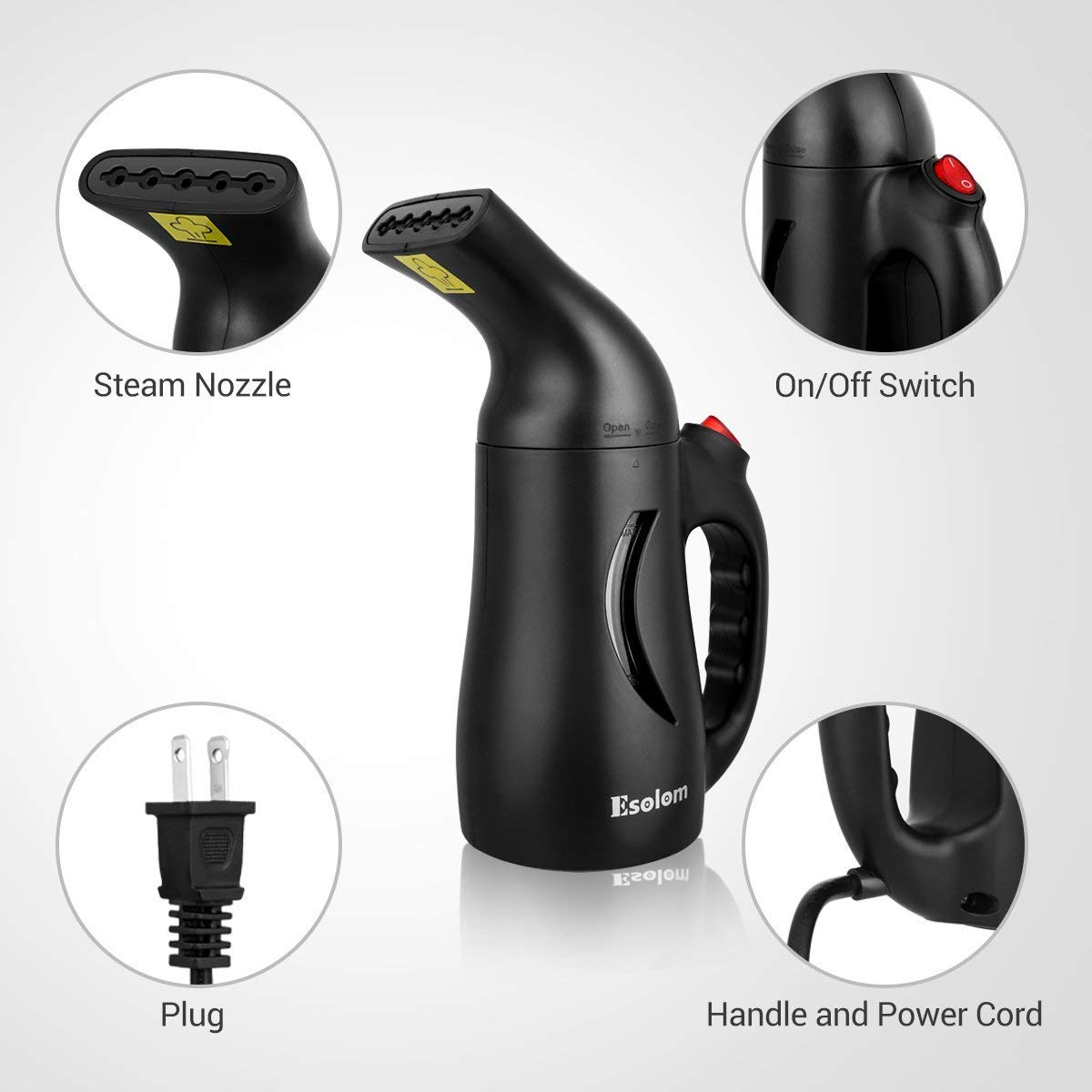 Handheld Clothes Steamer, ESOLOM Portable Travel Garment Steamer for Clothes Hand Steamer Wrinkle Remover with Automatic Shut-off and Fast Heat-up Function Safe Use for Travel and Home, 130ml-Black by ESOLOM (Image #2)