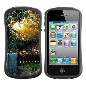 LASTONE PHONE CASE / Suave Silicona Caso Carcasa de Caucho Funda para Apple Iphone 4 / 4S / Nature Beautiful Forrest Green 41