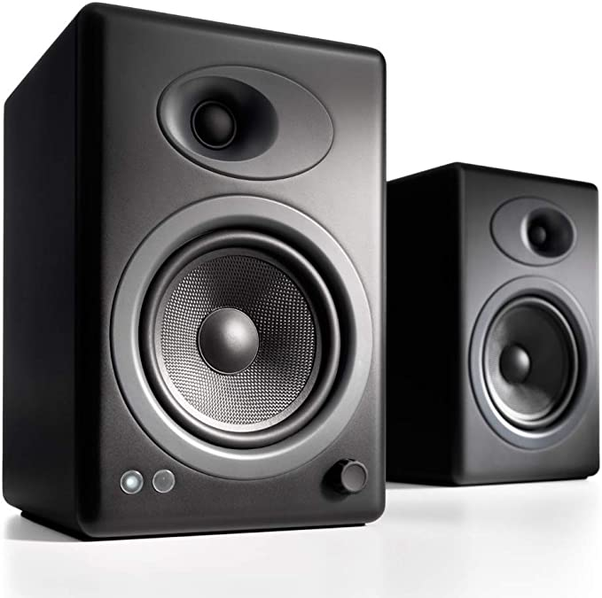 Audioengine A5+ (Plus) Powered Speaker   Desktop Monitor Speakers Computer Sound System   150W Premium Powered Bookshelf Stereo Speakers Pair, AUX Audio, RCA Inputs/Outputs, Remote Control (Black)