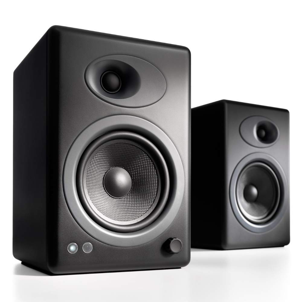 Audioengine A5 Plus Classic 150W Powered Bookshelf Speakers with Remote  Control, Built In Analog Amplifier - Black