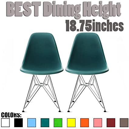 2xhome Set Of 2 Teal Desk Chair Mid Century Modern Plastic Molded Shell Assembled  Chairs Chrome