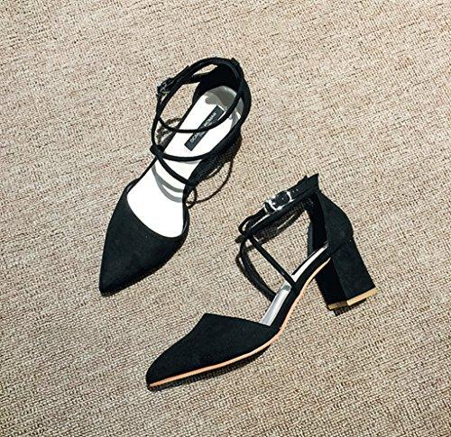 Rough With High Heels Comfortable Black Bare Belt Roman Sandals Summer Ladies Shoes Elegant Baotou Shoes (Color : Black, Size : 38)