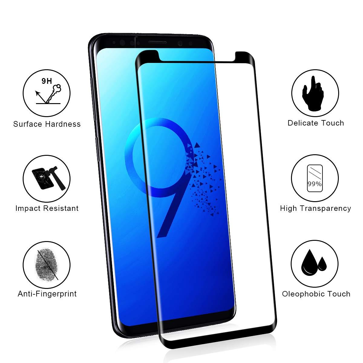 NONZERS Protector Pantalla para Samsung Galaxy S9 Plus,Ultra Transparente Cristal Templado,Fácil de Instalación,Vidrio Templado Duradero,Negro: Amazon.es: ...