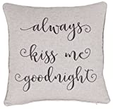 ADecor Always Kiss me goodnight Pillowcase Embroidered Pillow cover Decorative Pillow Standard Cushion Cover Gift Love Couple Wedding (18x18, Linen)