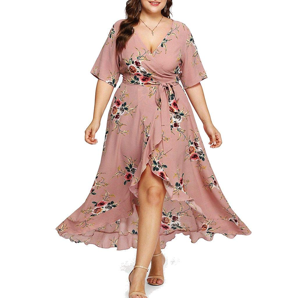 Rambling Plus Size Short Sleeves Wrap V Neck Belted Empire Waist Asymmetrical High Low Bohemian Party Maxi Dress Khaki
