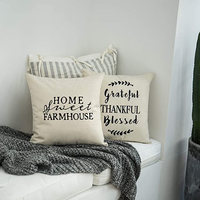 Meekio Farmhouse Decorative Throw Pillow Covers With Grateful Thankful Blessed Quotes Thank You Gifts 18 X 18 Inch Amazon Ca Home Kitchen