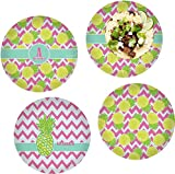 Pineapples Set of 4 Lunch / Dinner Plates (Glass) (Personalized)
