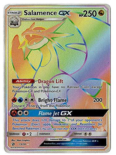 Sun Moon - Dragon Majesty - Full Art Salamence GX - 73/70 - Secret Rare Rainbow Foil - Dragon Card Rare Secret