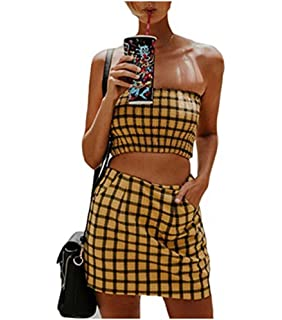 52eb528631 Women Sexy Sleeveless Plaid Crop Top +Short Skirt 2 Piece Outfits Casual Set