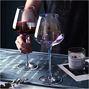 Amazon Com Amesser Crystal Wine Glasses 22 Ounce Set Of 2 Lead Free Handblown Italian Style Stemware Wine Glass For Burgundy Cabernet Sauvignon Bordeaux Cw001 Iridescent Wine Glasses