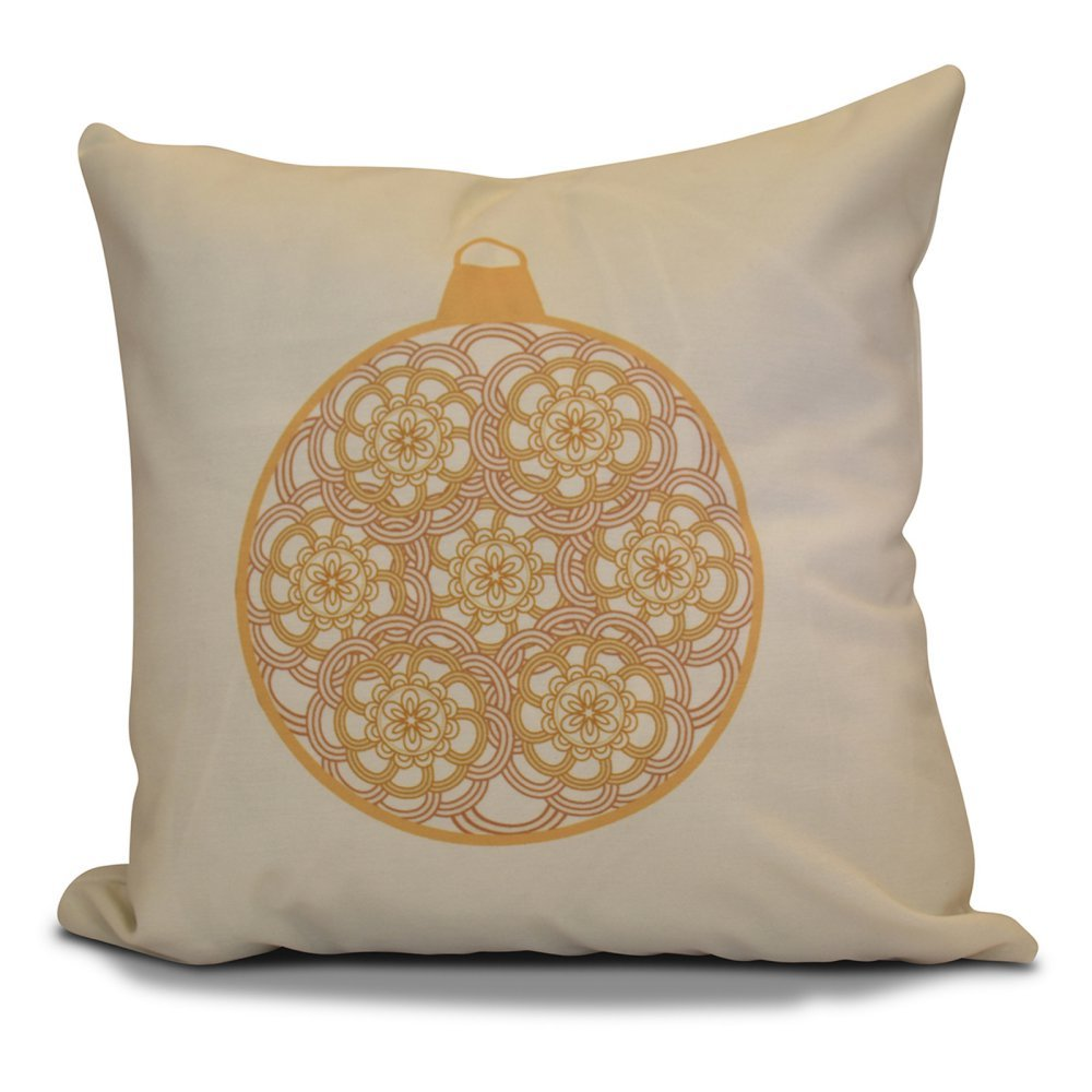 E by design PHGN678YE11-18 18 x 18 inch Decorative Holiday Pillow Gold Geometric Print