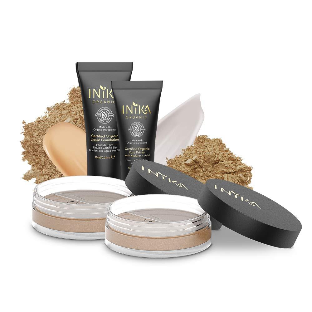 INIKA Trial Pack, All Natural Make-up Discovery Kit. Travel Makeup, Mini Trial Set, Mineral Foundation SPF25 (2 x), Certified Organic Liquid Foundation, Certified Organic Primer (Medium/Dark)