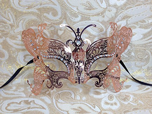 Bronze Butterfly Metal Laser Cut Venetian Masquerade Mask with Clear Stones by Venetian