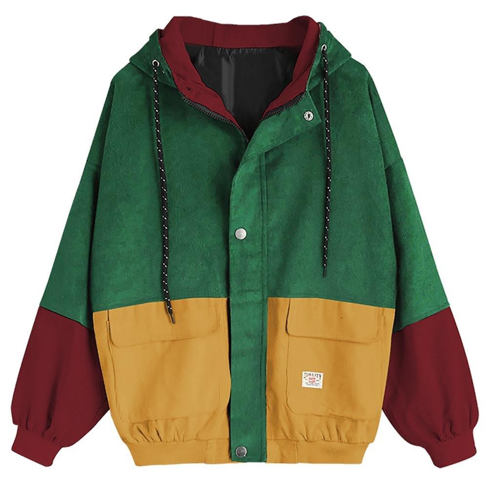 USHOT Women Coat, Women Corduroy Patchwork Zipper Hooded Windbreaker Coat Outwear (Wine Red, XXXL/US 14)