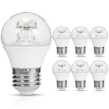 SmartinLiving Bombillas LED Globo, G14 Mini Bombillas LED, E26 Base, 5W (40 W bombilla incandescente de ...