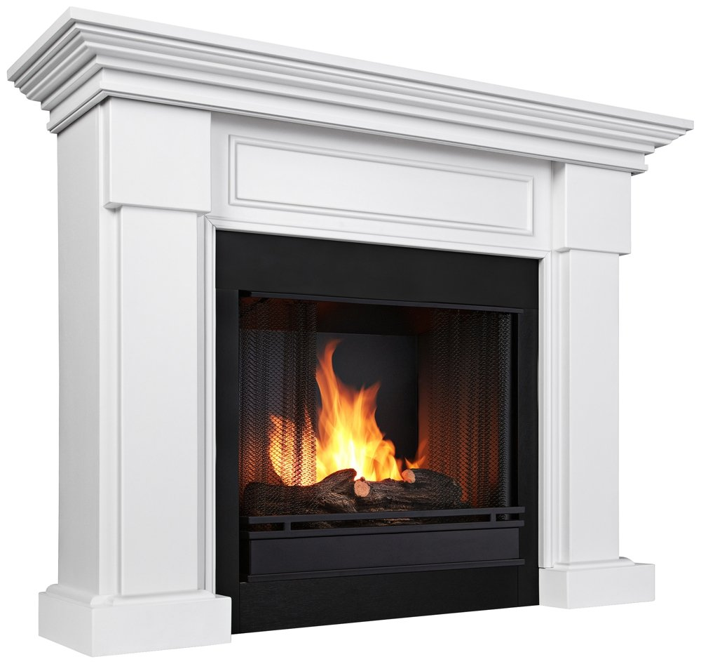 amazon com real fame hillcrest gel fireplace white home u0026 kitchen