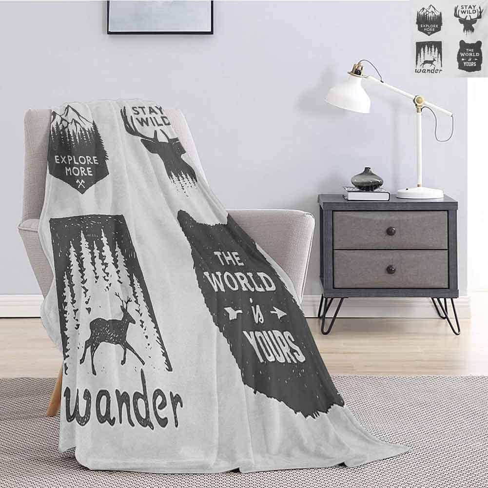 Aishare Store Furry Throw Blanket,Wilderness Emblems Stay Wild Wander The World is Your Arrow Pine Wildlife Animals Throw Blankets for Kids W51 x L60 Inch,Grey